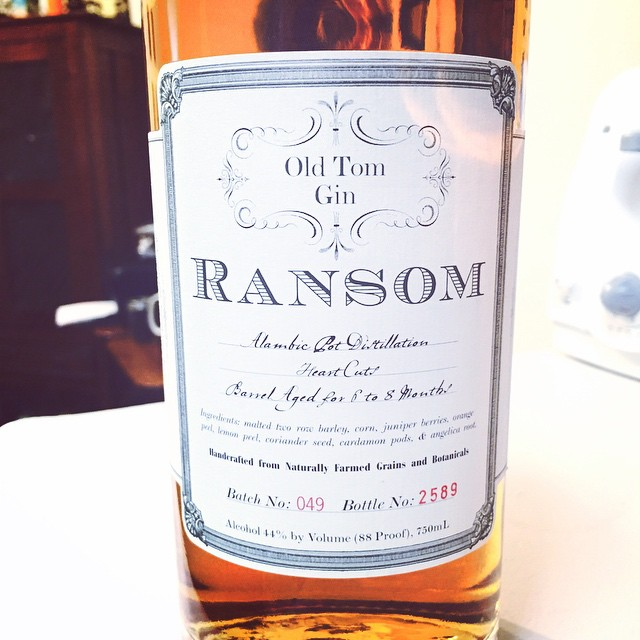 A bottle of Ransom brand gin.